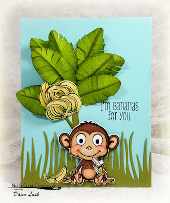 North Coast Creations Stamp Set: Thanks a Bunch, North Coast Creations Custom Dies: Monkey and Bananas, Our Daily Bread Designs Custom Dies Grass Border, Double Stitched Ovals