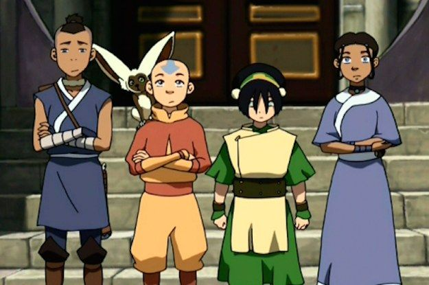 Sokka, Aang, Topha, and Katara