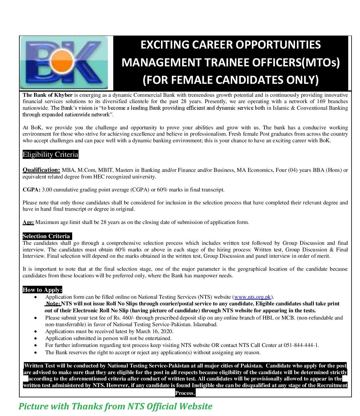 Bank of Khyber Jobs 2020 - BOK Management Trainee Program 2020 for Females