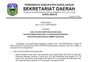 Pengumuman Hasil Tes SKD CPNS 2019 Kabupaten Sarolangun Provinsi Jambi