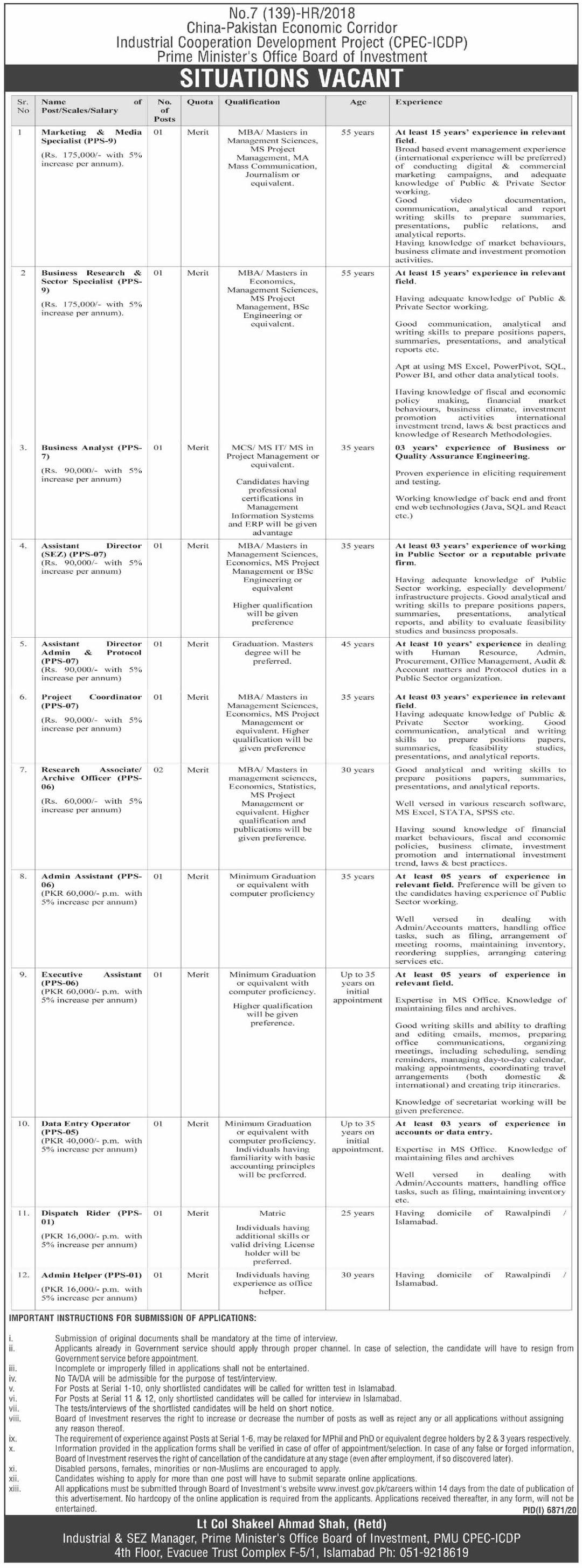 www.invest.gov.pk Jobs 2021 - China Pakistan Economic Corridor (CPEC) Jobs 2021 in Pakistan
