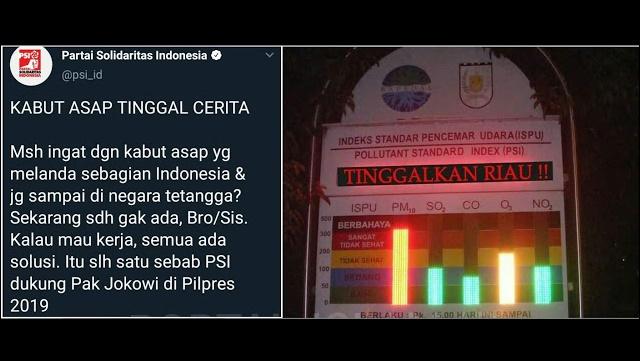 Netizen Sindir Video PSI yang Klaim Kabut Asap Tinggal Cerita Berkat Kerja Jokowi