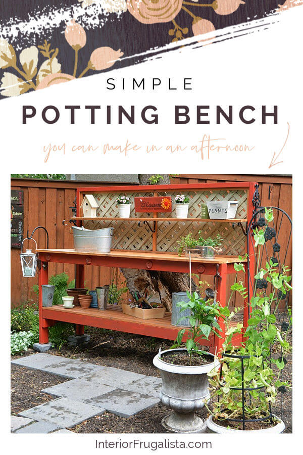 This simple DIY Gardener's Potting Bench can be built in an afternoon with 2x4s. A potting table by day and outdoor bar with solar lights at night. #pottingbench #pottingtable #gardenersbench #diyoutdoorprojects #diyoutdoorfurniture