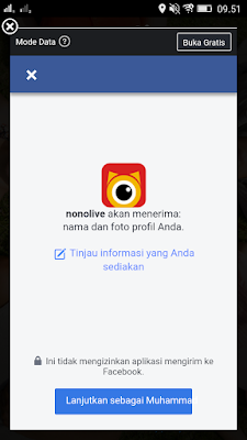 login via facebook di Aplikasi Nonolive Android