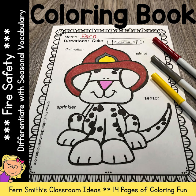 Fire Safety Coloring Pages with Differentiated Seasonal Vocabulary