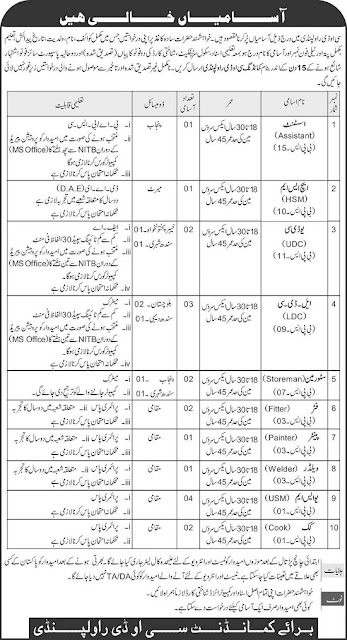 PAKISTAN ARMY CIVILIANS JOBS May  LATEST 2020