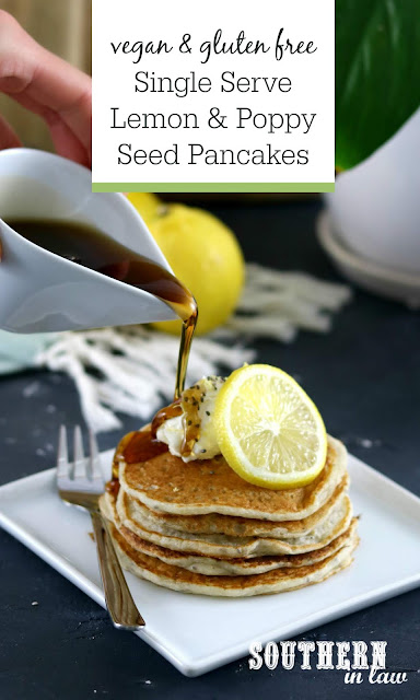 Single Serve Vegan Lemon and Poppy Seed Pancakes - gluten free, healthy, low fat, clean eating, sugar free, egg free, dairy free