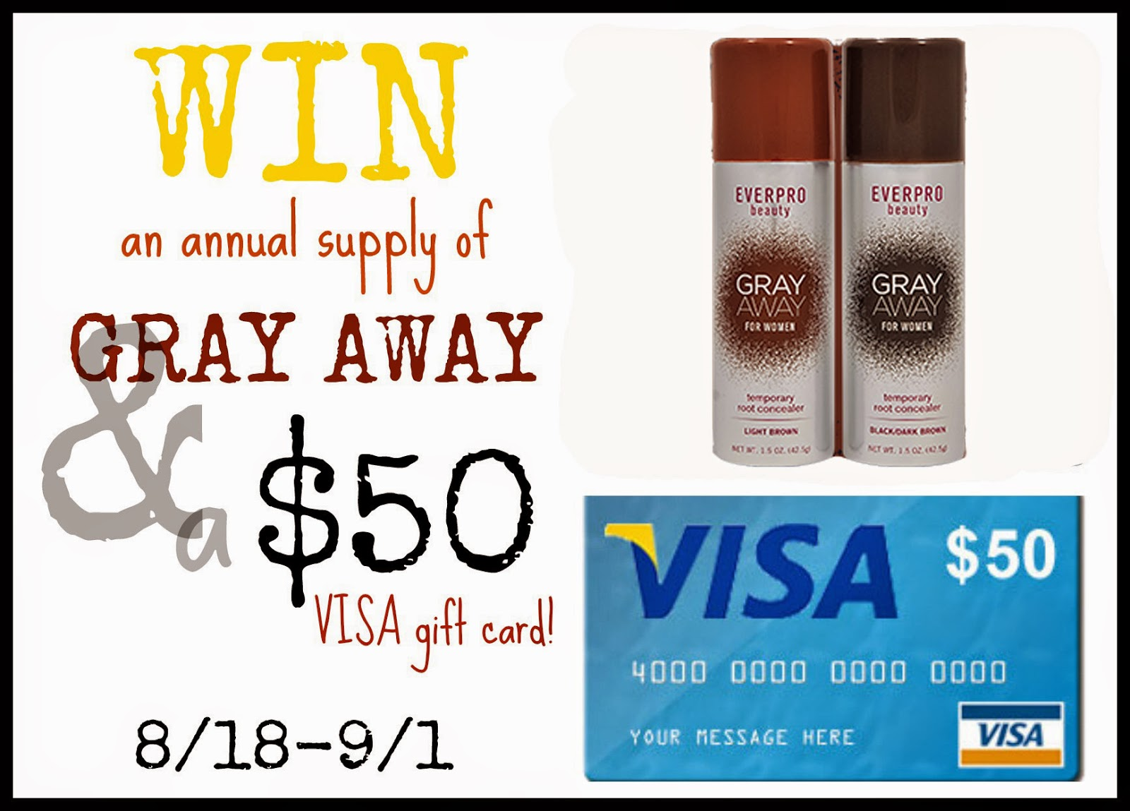 Enter the Gray Away & VISA Gift Card Giveaway. Ends 9/1/14.