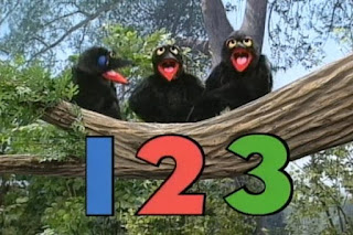 The Counting Crows, consisting of 3 crows, sing the song Count it 1 2 3. Sesame Street 123 Count with Me