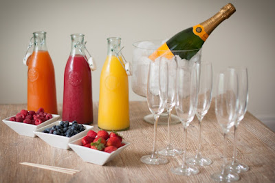 Brunch beverages like Champagne and fruit juices are perfect