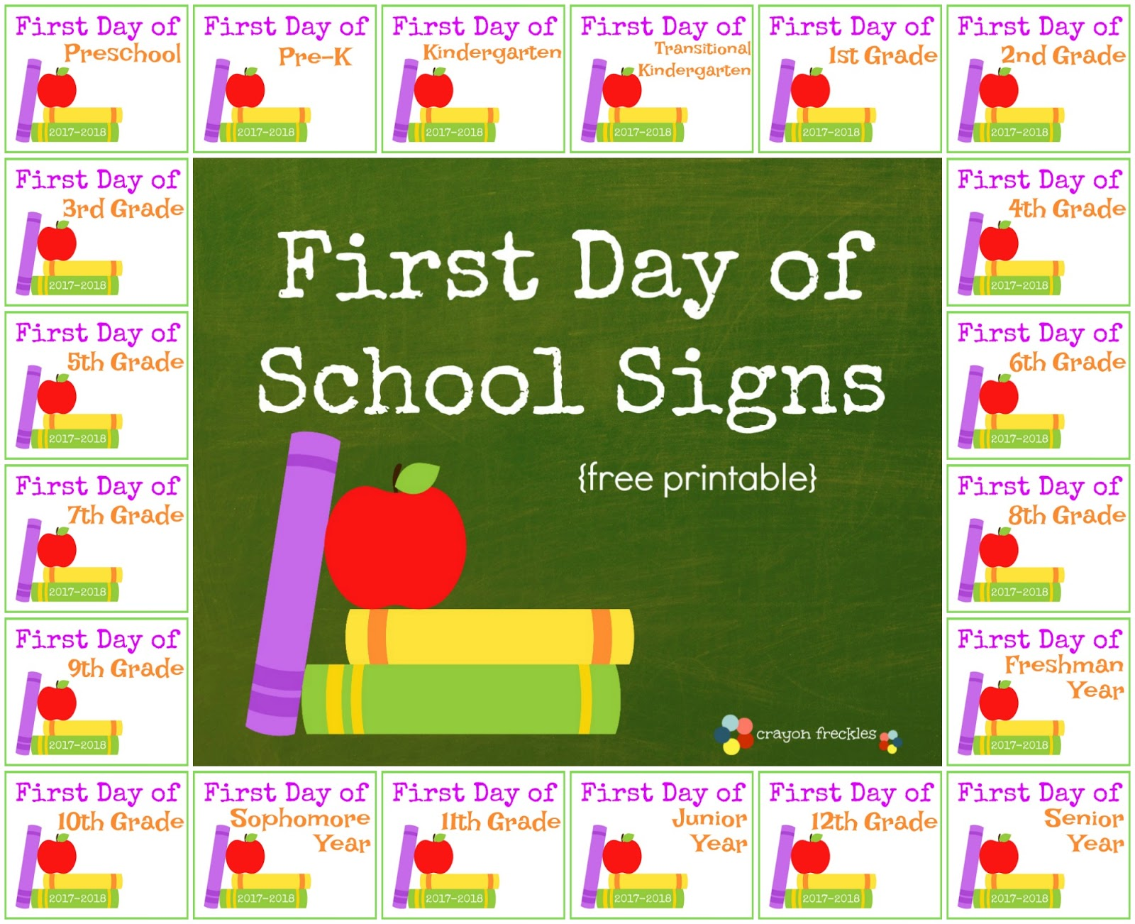graphic about First Day of 5th Grade Printable named Crayon Freckles: Initially Working day of College Indicators for Young children totally free