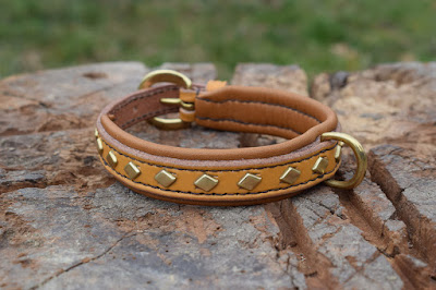 Leather collar with brass diamond studs made on measure for a Jack Russell terrier
