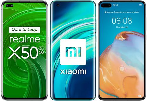 Realme X50 Pro 256 GB vs Xiaomi Mi 10 128 GB vs Huawei P40