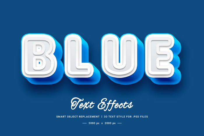 3D Blue Text Style Effect Mockup