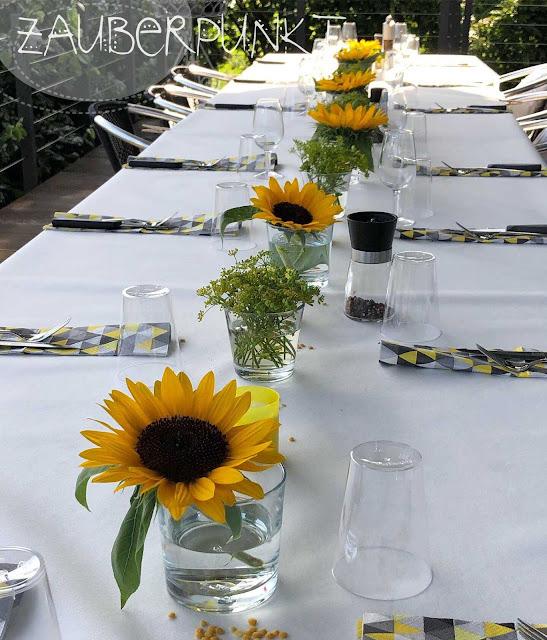 Tischdekorationsessential, Grundlagen der Tischdekoration, Sonnenblumen, Sommertisch, Geburtstagstafel, Tablesetting