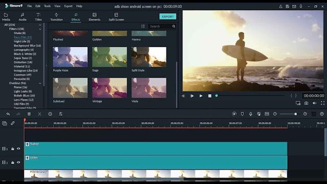 دورة تعلم وشرح filmora 9 إضافة مؤثراث سينمائية للفيديو faux film effect