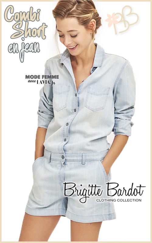 Combi short en jean clair Brigitte Bardot