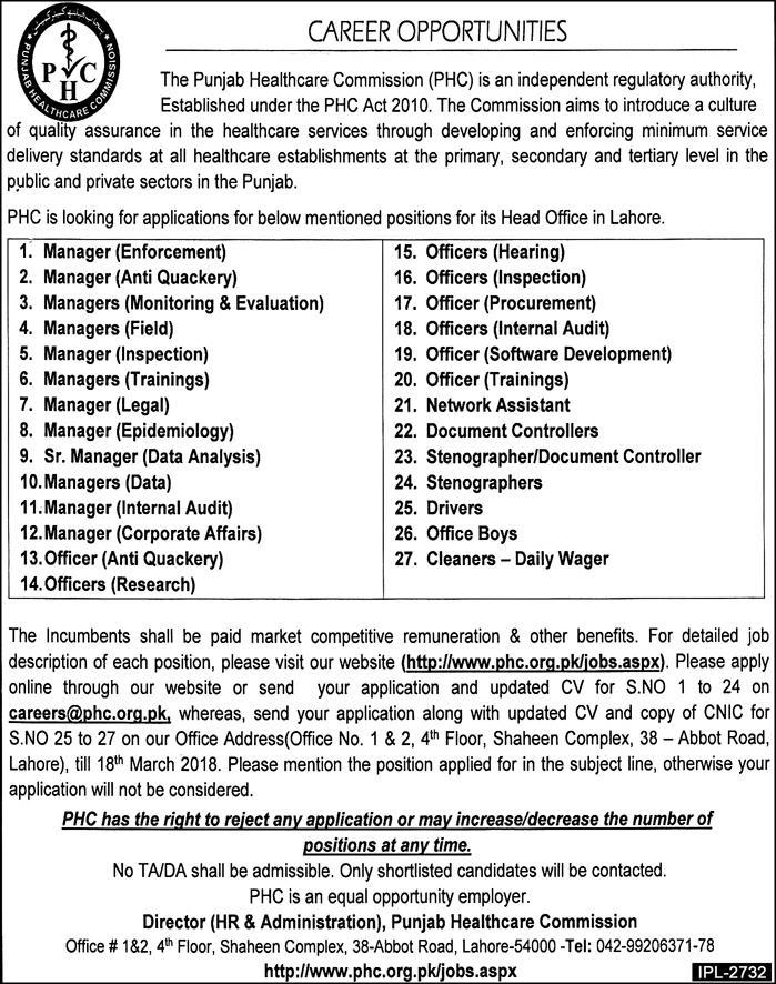 Jobs In PHC Punjab Healthcare Commission 2018 for Different Positions