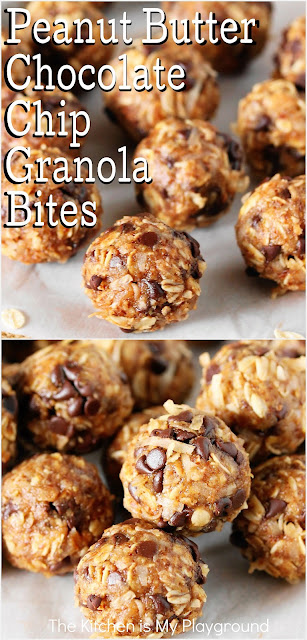 Peanut Butter Chocolate Chip Granola Bites ~ Tasty little granola bites with peanut butter, honey, oats, & chocolate chips. An anytime energy boosting snack treat that's perfect for after school, lunch boxes, or anytime you need a quick snack bite to pick you up!  www.thekitchenismyplayground.com