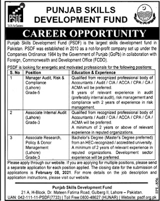 PSDF  2021 Lahore, Punjab Skills Development Fund