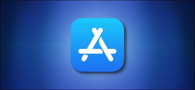 رمز متجر تطبيقات Apple على خلفية زرقاء