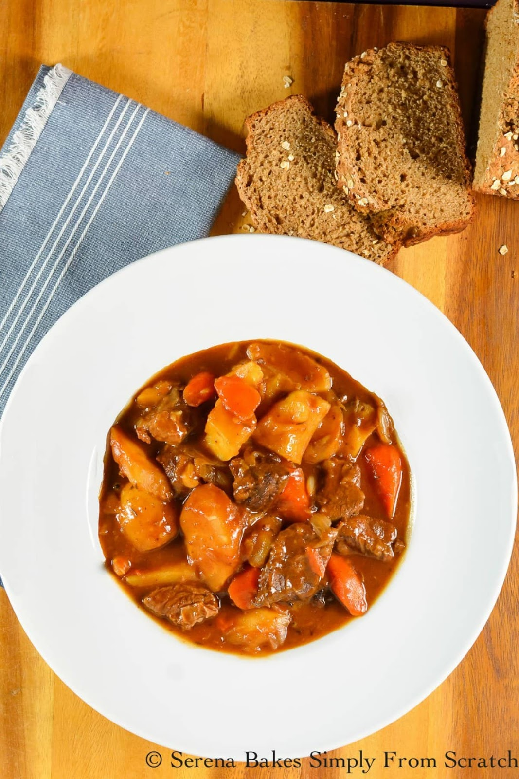 Irish Guinness Beef Stew recipe is an easy from scratch stew that is slow cooked in a hearty beef gravy with potatoes, carrots and parsnips from Serena Bakes Simply From Scratch. A favorite St. Patricks Day dinner recipe!
