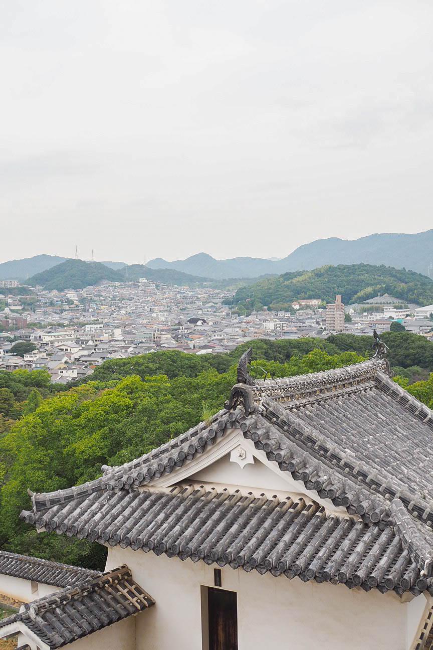 View of Himeji from Himeji Castle, Japan