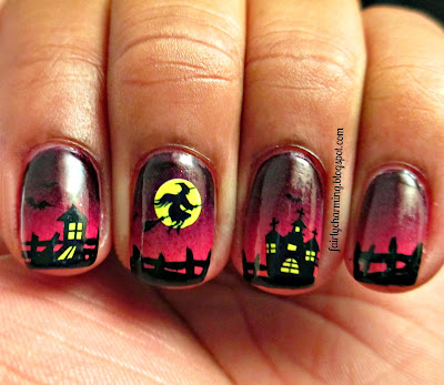 KKCenterHK, water decals, halloween, haunted house, witch, spooky, sunset, dusk, gradient, nails, nail art, nail design, mani