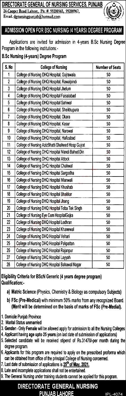 Latest Free Nursing Course in Directorate of Nursing  Punjab May 2021