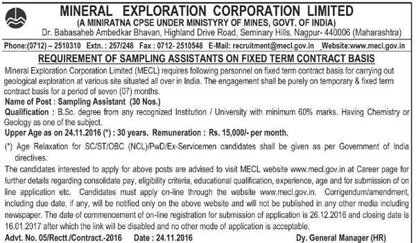 Mineral Exploration Corporation Limited (MECL) Recruitment 2017 for 30 Sampling Assistant Posts
