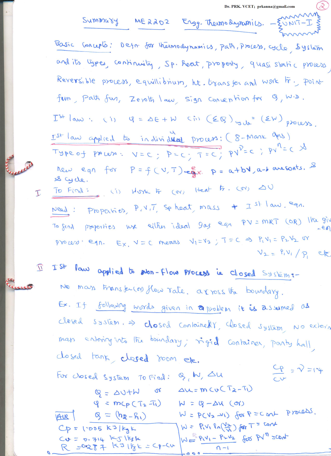 Thermodynamics Summary Of First Unit First Law Of