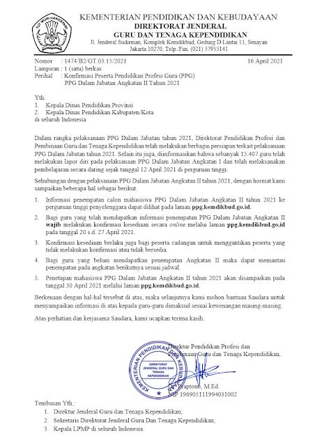 Konfirmasi Peserta PPG Daljab Angkatan II Tahun 2021