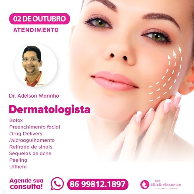 Dia 02 de outubro tem médico dermatologista no Centro Michelle Albuquerque em Cocal; agente já a sua consulta!