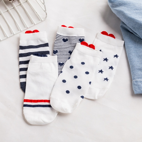 5Pairs New  Women Socks Casual Animal Ear Red Heart Gril Socks 35-40