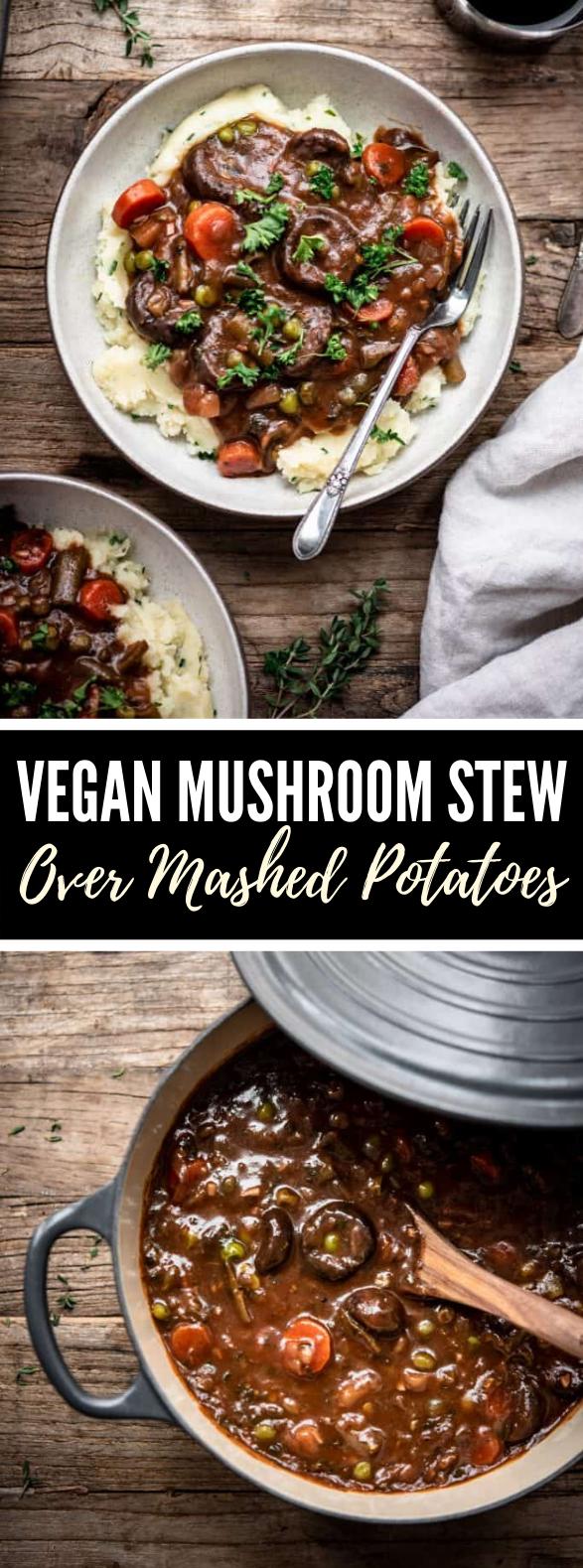 vegan mushroom stew over mashed potatoes #vegetarian #comfortfood
