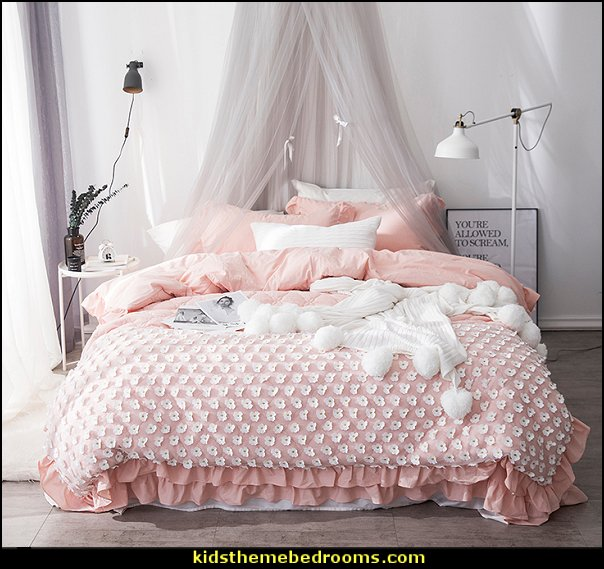 White/gray/pink Washed cotton Lace flower Bedding
