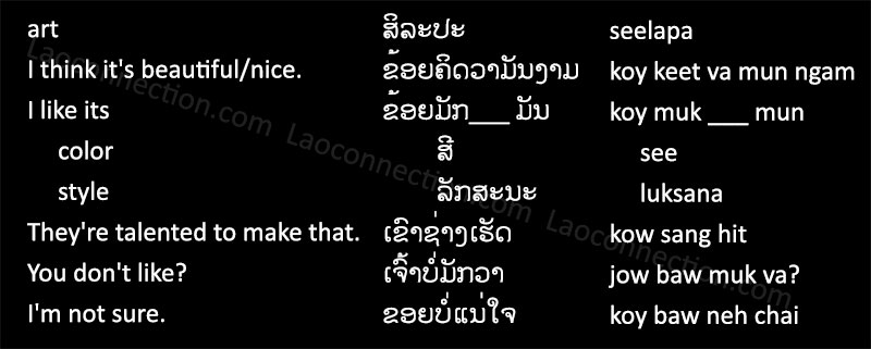 Laos To English Words: Laoconnection com: Lao Phrases: Art