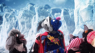 Super Grover 2.0 Ice Block Party penguins, Sesame Street Episode 4312 Elmo and Zoe's Hat Contest season 43