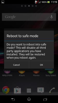 Safe mode Xperia