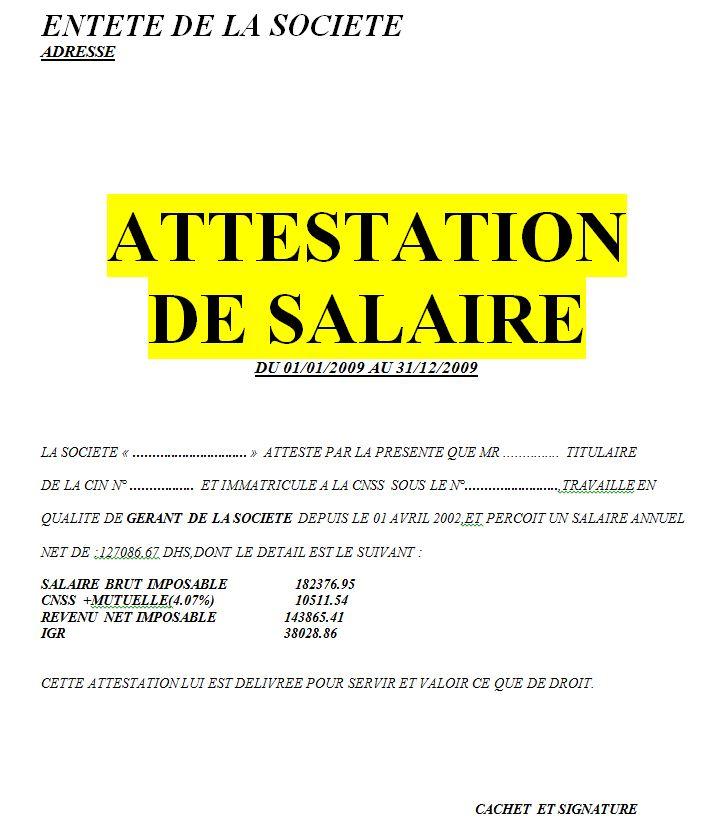 Exemple de modèle d'attestation de saliare en word doc   Cours génie civil - Outils, livres ...
