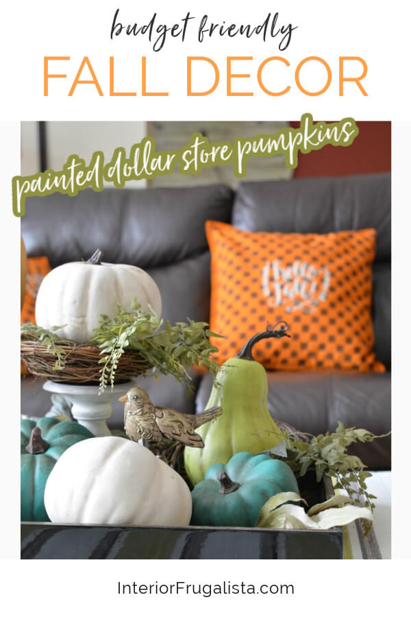 How to turn cheap dollar store plastic pumpkins into gorgeous farmhouse-style painted pumpkins customized to match your fall color palette and style. #fauxpumpkins #fallhomedecor #pumpkincrafts