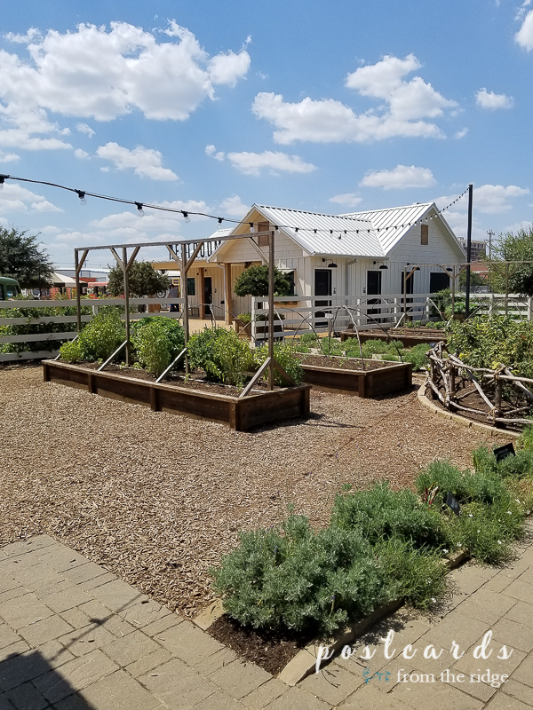 herb gardens and white painted building at magnolia market