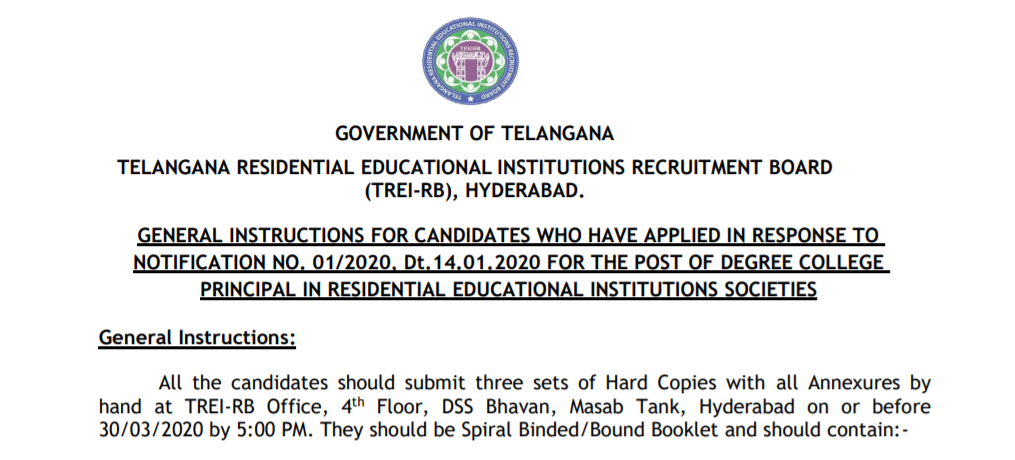 GENERAL INSTRUCTIONS FOR CANDIDATES WHO HAVE APPLIED IN RESPONSE TO NOTIFICATION NO. 01/2020, Dt.14.01.2020 FOR THE POST OF DEGREE COLLEGE PRINCIPAL IN RESIDENTIAL EDUCATIONAL INSTITUTIONS SOCIETIES/2020/05/GENERAL-INSTRUCTIONS-FOR-CANDIDATES-FOR-THE-POST-OF-DEGREE-COLLEGE-PRINCIPA-IN-RESIDENTIA-EDUCATIONAL-INSTITUTIONS-SOCIETIEStreirb.telangana.gov.in.html