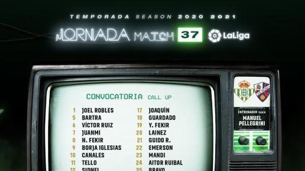Betis, convocados ante el Huesca