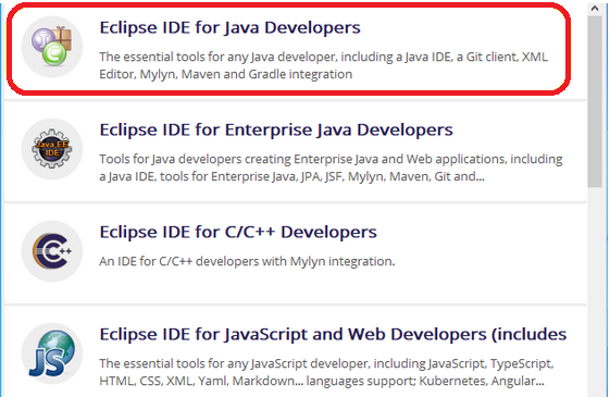 Menu Eclipse IDE for Java developers