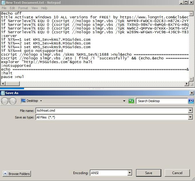 save file với định dạng .cmd, .bat