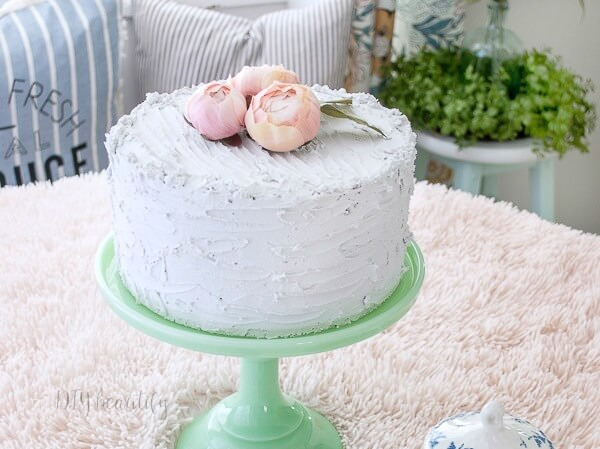 fake cake on jadeite cake stand