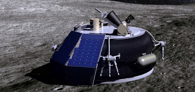 An artist's depiction of Moon Express' MX-1 spacecraft on the surface of the Moon. The company's first flights next year will be with an optimized version, dubbed MX-1E, that will be able to fly atop Rocket Lab's Electron rocket. Image Credit: Moon Express