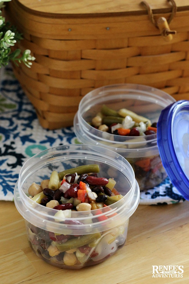 Mixed Bean Salad by Renee's Kitchen Adventures packaged for picnic