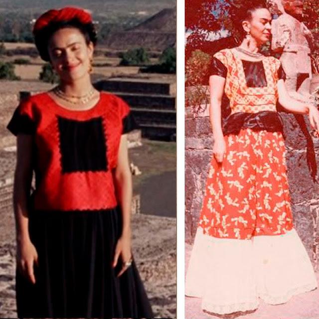 Frida Kahlo (salma hayak) roupa vermelha